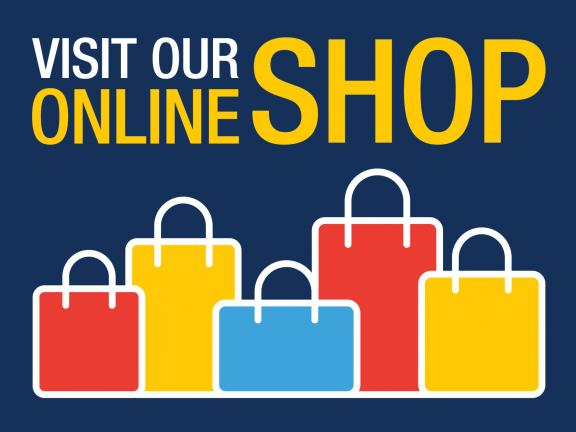 "The text ""Visit our online shop"" with graphics of shopping bags of varying sizes underneath the text"