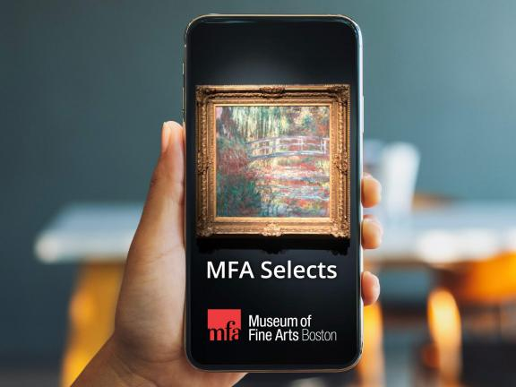 "Smartphone screen depicting Monet's The Water Lily Pond painting with ""MFA Selects"" underneath"