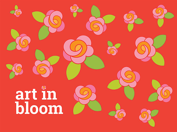 Graphic for Art in Bloom program, red background with pink roses