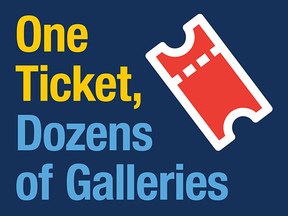 One Ticket, Dozens of Galleries graphic with ticket icon