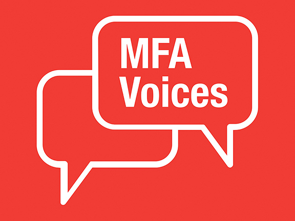 """Red and white sign with speech bubbles sign saying """"MFA Voices"""""""