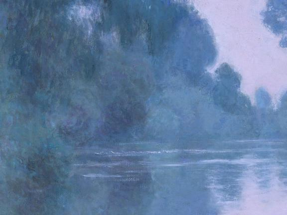 Detail of Monet painting, depicting river landscape with lush trees on both banks, all covered in purplish light
