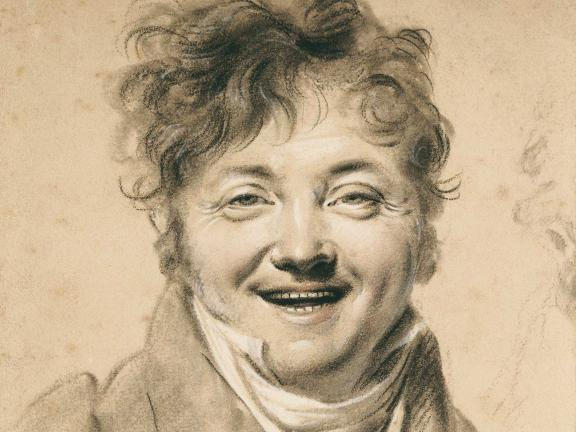 Chalk portrait of a man laughing
