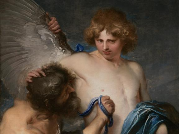 detail of painting depicting Daedalus strapping wings onto Icarus
