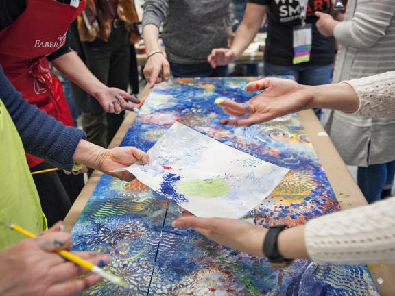 collaborative abstract mixed media painting by students SAC