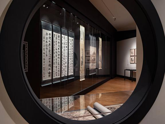 "View of Asian Paintings Gallery (178), looking into ""Weng Family Collection of Chinese Painting: Travel and Home"" exhibition"