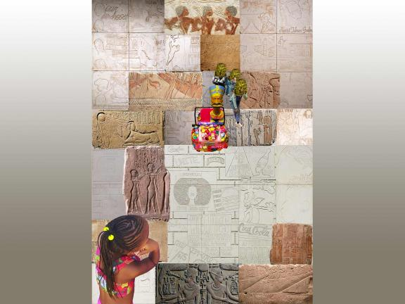 Collage of little girl looking at Egyptian wall carvings, Nefertiti, and commercial references