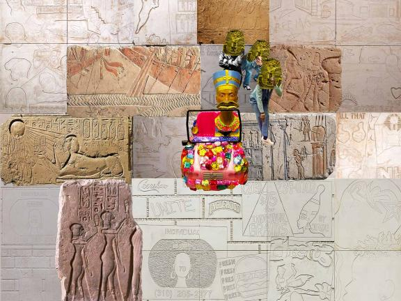 Collage of Egyptian wall carvings, Nefertiti, and commercial references