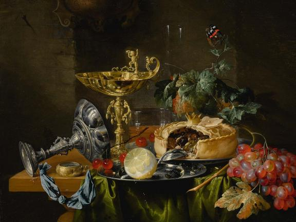 Painting of still life with fruits, pie, gold and silver bowls, plant, and a butterfly