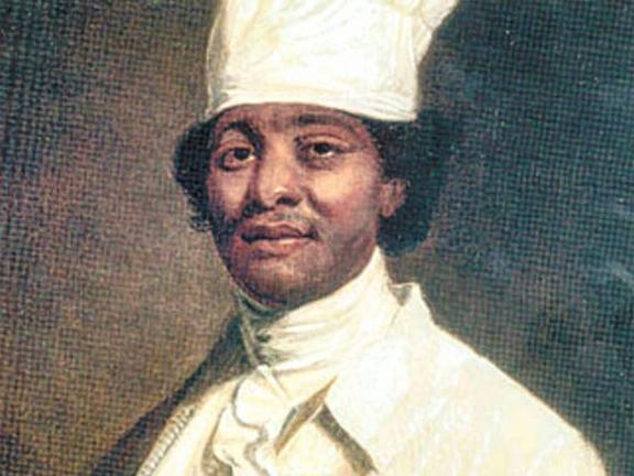Illustration of a man wearing a white jacket and chef's cap