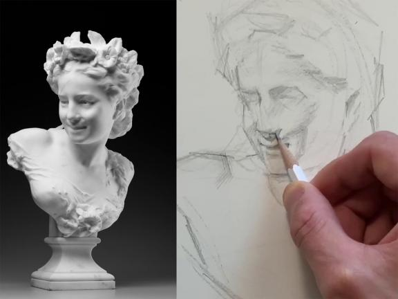on left, photograph of bust depicting woman wearing flower crown; on right, detail of pencil drawing of the sculpture, with instructor's hand shading in nose of the bust