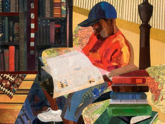 Collage of a seated young boy wearing a cap and reading a book.