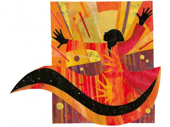 A collage depicting a woman with arms raised, wearing a bright orange and red dress dances against a brightly lit backdrop