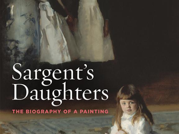 Cover image for Sargent's Daughters. In the foreground, a young girl sits on a rug with a doll on her lap; In the background, two older girls are standing