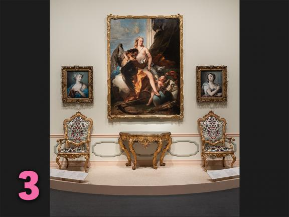 View of furniture and paintings installed in Casanova's Europe exhibition
