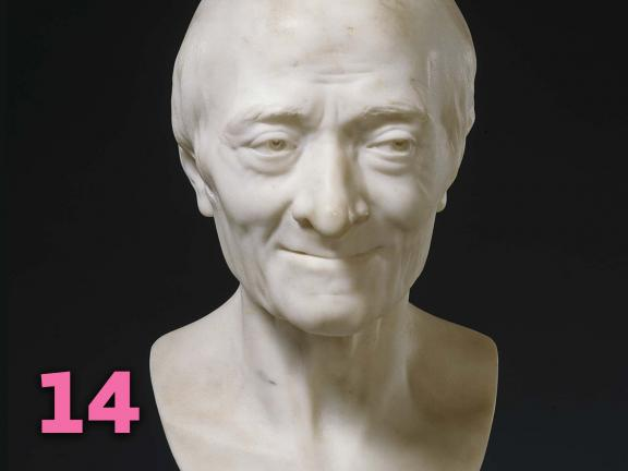 Jean-Antoine Houdon's marble bust of Voltaire