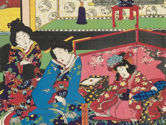 A colorful Japanese woodblock print showing a scene from a kabuki play where a boy shows a daughter of a feudal lord how to play a board game.