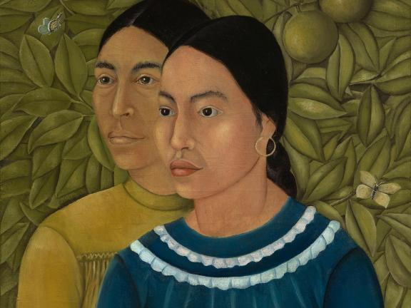 detail of Kahlo painting depicting two sisters in front of leafy background