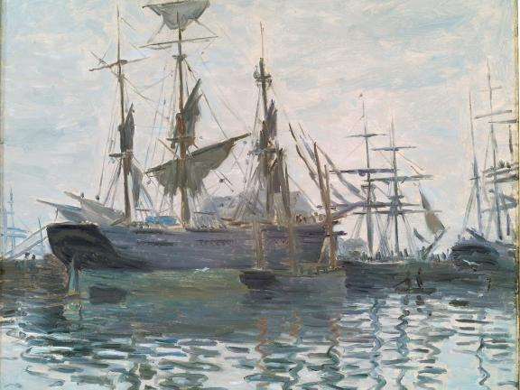 Ships in Harbor, Claude Monet