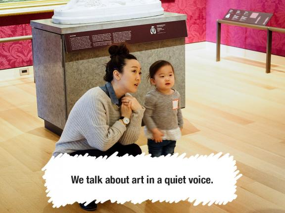 We talk about art in a quiet voice.