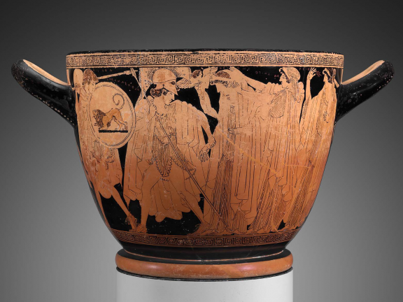 Greek drinking cup depicting the departure and recovery of Helen