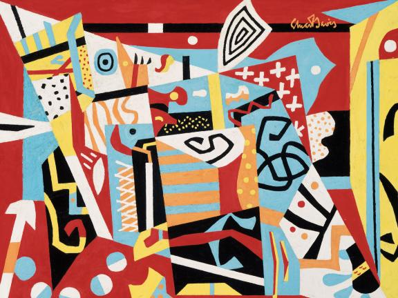 Abstract painting featuring bright geometric shapes, Hot Still-Scape for Six Colors 7th Avenue Style, by Stuart Davis