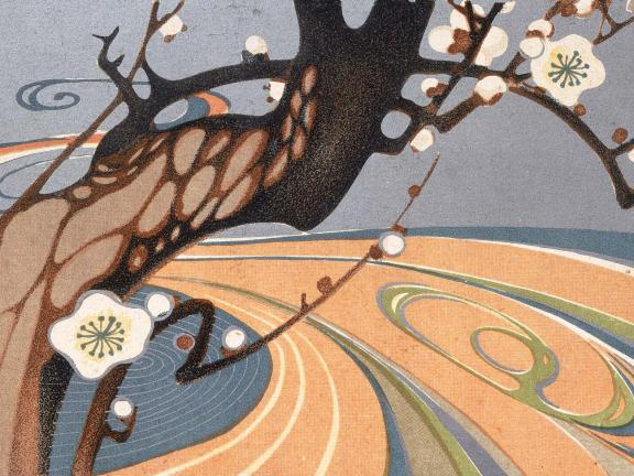 Detail of print, Blossoming Plum Tree by a River