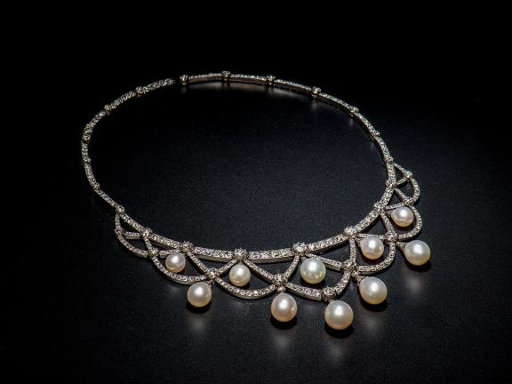 Pearl, and diamond necklace, c. 1880