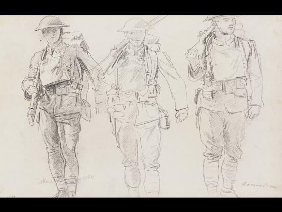 John Singer Sargent, Sketch of Three Soldiers