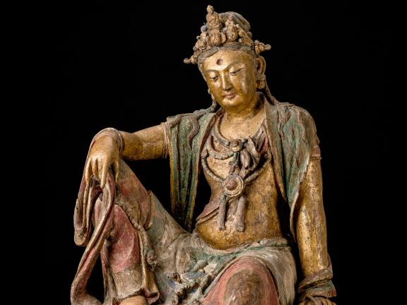 Detail fo Chinese sculpture, Guanyin, Bodhisattva of Compassion