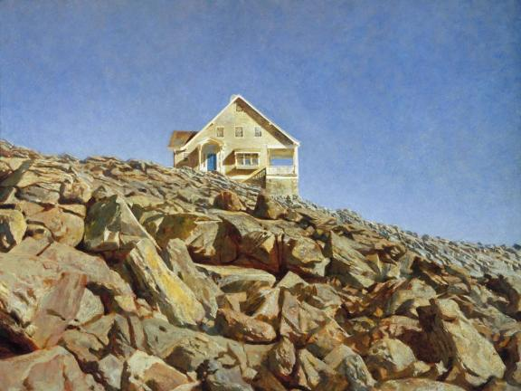 Painting of house atop rock wall, Kent House, by Jamie Wyeth