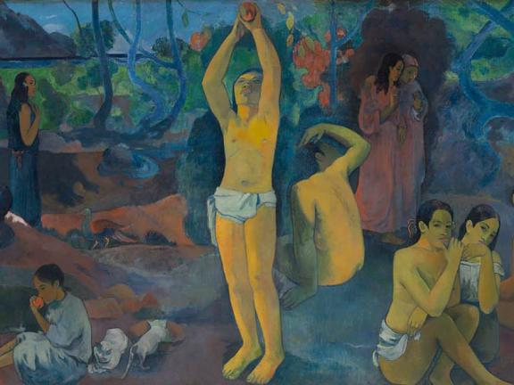Detail of painting, Where Do We Come From? What Are We? Where Are We Going? by Paul Gauguin