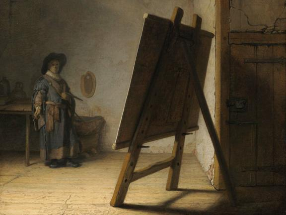 Detail of painting, Artist in his Studio, by Rembrandt