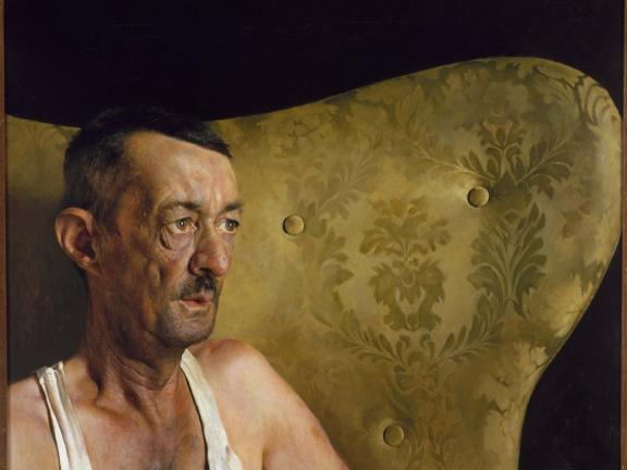 Painting of man with moustache sitting on couch, Portrait of Shorty, by Jamie Wyeth