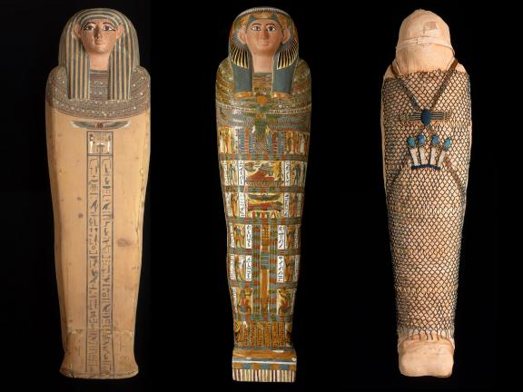 The middle coffin, inner coffin, and mummy of Nesmutaatneru. Wood, plastered linen over wood, human remains, linen, faience.