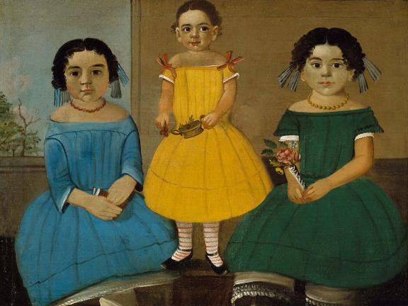 painting of three sisters in different colored dresses; sisters on left and right sitting; youngest sister in middle standing