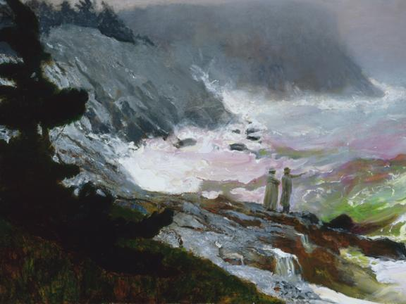 Painting of large waves crashing on rocky coast, The Sea, Watched, by Jamie Wyeth
