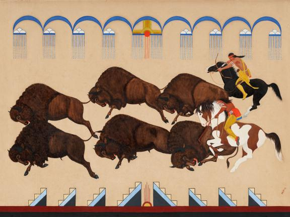 Painting of Buffalo Hunt by Velino Shije Herrera (Ma-Pi-We)