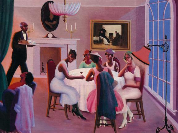 Painting called Cocktails, depicting women gathered around dining table sharing drinks