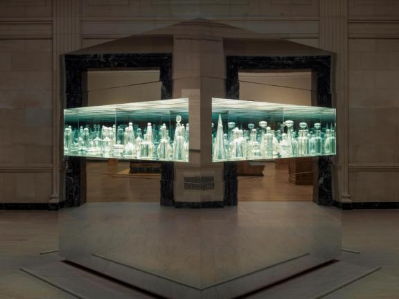 Install view of Josiah McElheny's Endlessly Repeating Twentieth Century Modernism