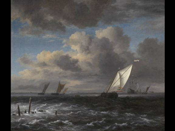 Painting, Rough Sea, by Jacob Isaacksz. van Ruisdael