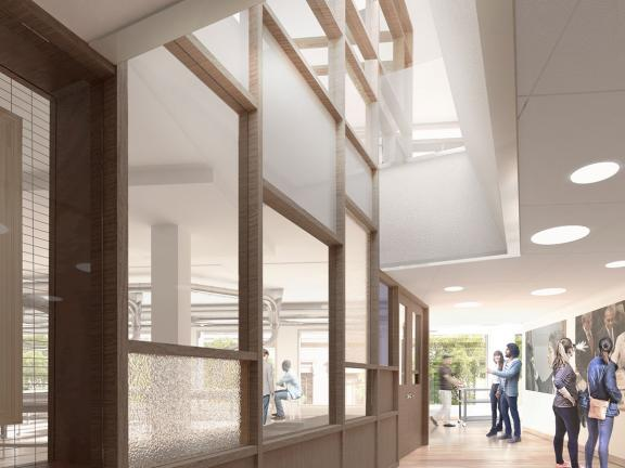 Architectural rendering of light-filled space with conservation area separated by glass wall