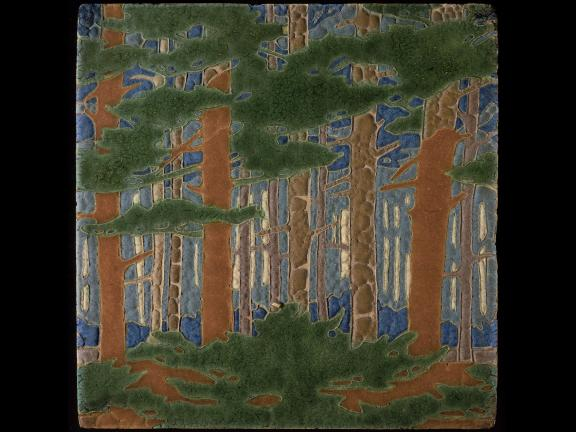 Earthenware tile depicting scene in forest
