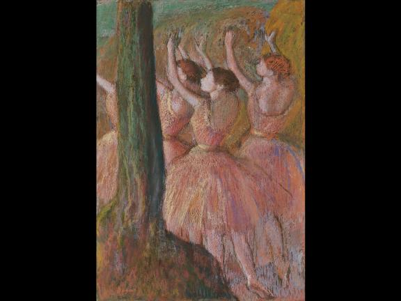 Edgar Degas's pastel drawing, Dancers in Rose, about 1900