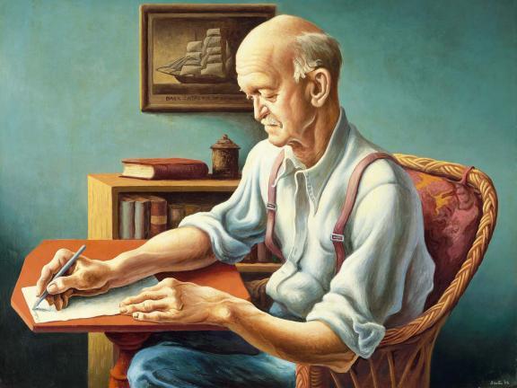 Thomas Hart Benton's painting, New England Editor, 1946