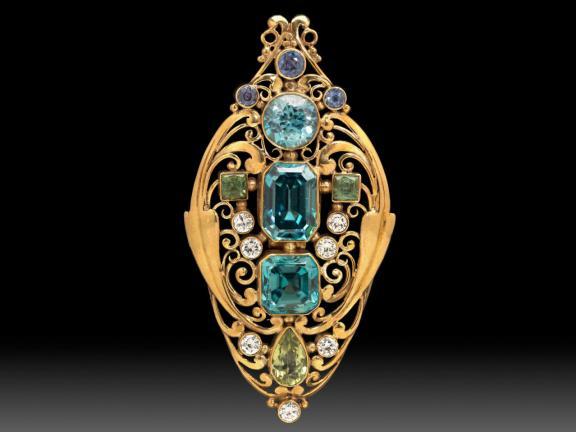 Jeweled scroll brooch, made by Frank Gardner Hale