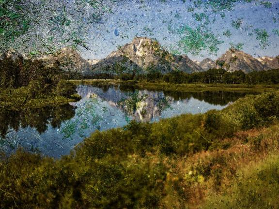 Abelardo Morell's print, Tent-Camera Image on Ground: View of Mount Moran and the Snake River from Oxbow Bend, Grand Teton National Park