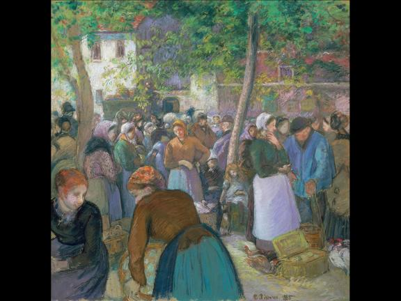 Camille Pissarro's pastel drawing, Poultry Market at Gisors, 1885