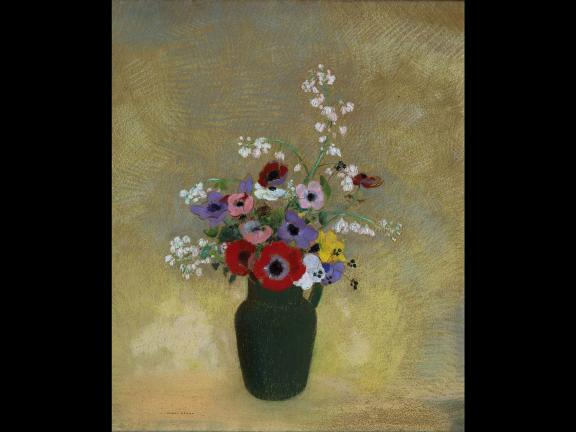 Odilon Redon's pastel drawing, Large Green Vase with Mixed Flowers, 1910–12