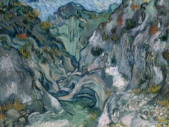 colorful ravine depicted in Vincent van Gogh's painting, Ravine
